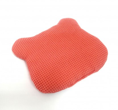 Poduszka Płaska Waffle Koralowa z uszami