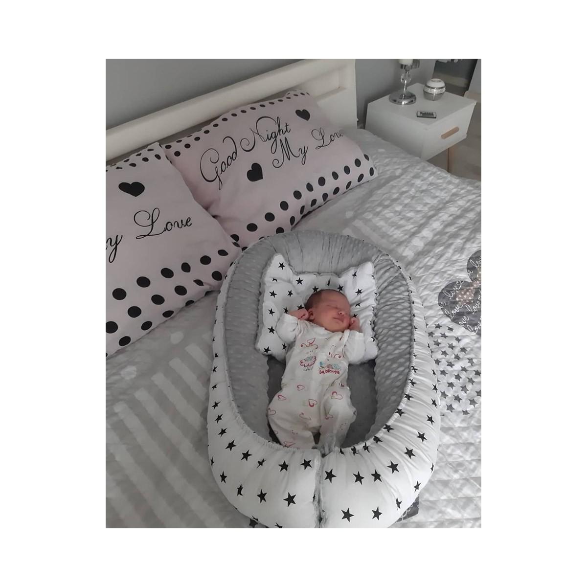 Kokon niemowlęcy Czarne Gwiazdki i Szary minky