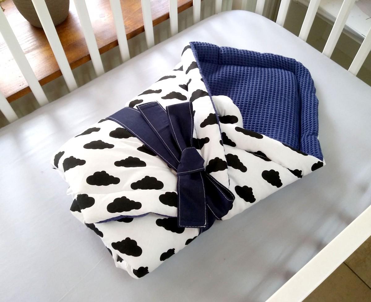 6-elementowa pościel do łóżeczka Waffle Blue Clouds