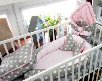 5-elementowa pościel do łóżeczka Grochy na szarym i Róż