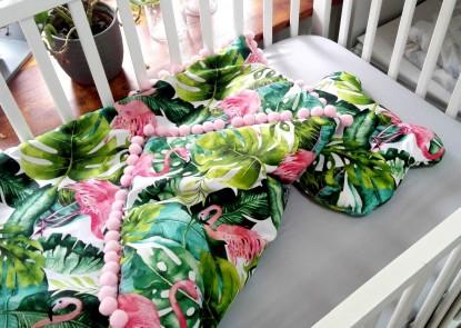 Kołderka do łóżeczka 100x75cm flamingii plus poduszka z uszami
