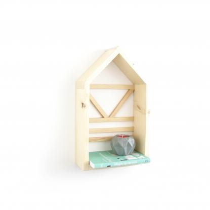 Półka Domek w kolorze naturalnym ze wzorkiem