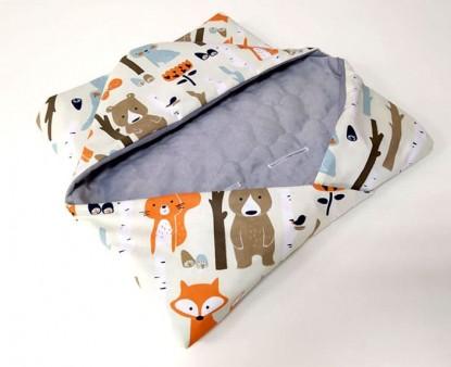 Kocyk do nosidełka i fotelika Zwierzęta w lesie na beżu i Szary Velvet (wersja ocieplana)