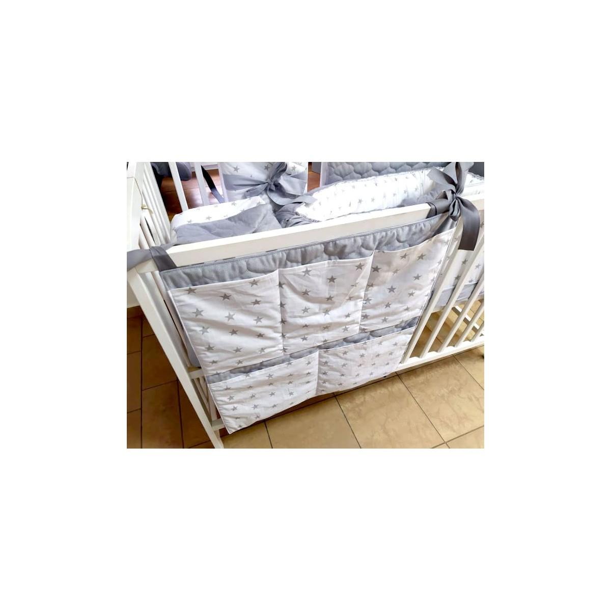 7-elementowa pościel do łóżeczka Velvet Grey Stars