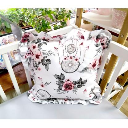 Poduszka Kwadrat z Falbankami Różowe łapacze snów