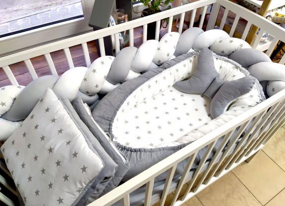5-elementowa pościel do łóżeczka Grey Stars Velvet
