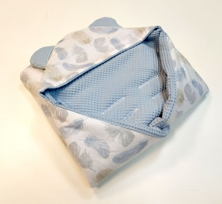 Kocyk do nosidełka i fotelika Niebieskie Piórka Waffle (wersja letnia)