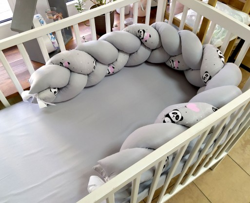 Ochraniacz Pleciony Pandy z różowymi balonami i Szary