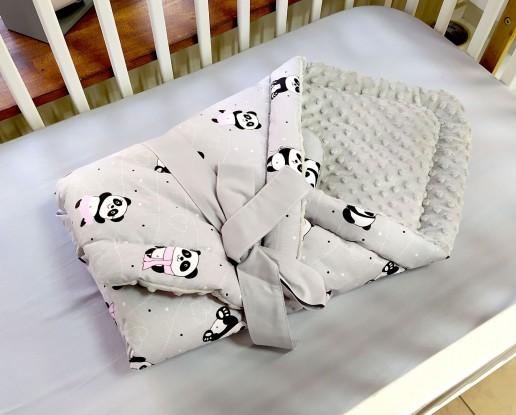 Rożek niemowlęcy Pandy z różowymi balonami i Szary