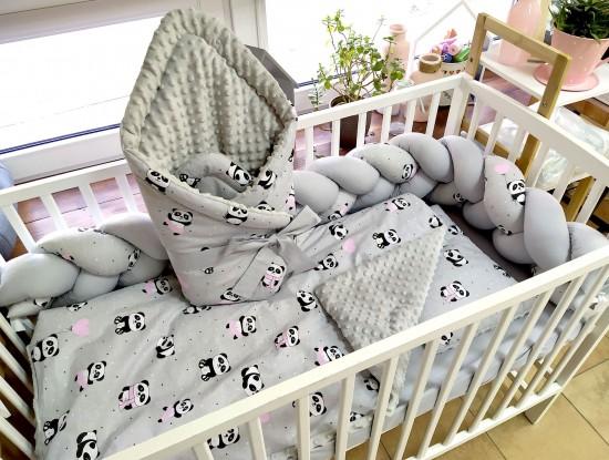 4-elementowa pościel do łóżeczka Pandy z różowymi balonikami i Szary