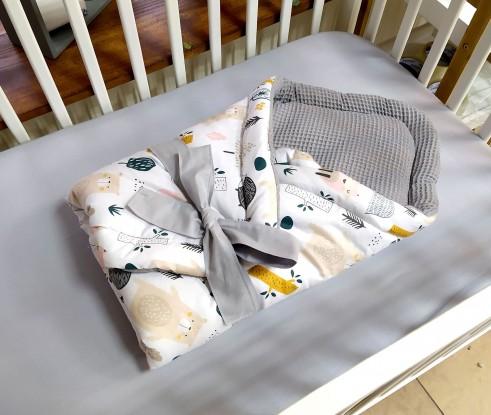 Rożek niemowlęcy Waffle Zwierzęta w Lesie i Szary