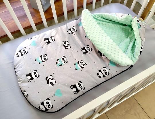 Śpiworek do wózka Pandy z miętowymi balonikami i Mięta