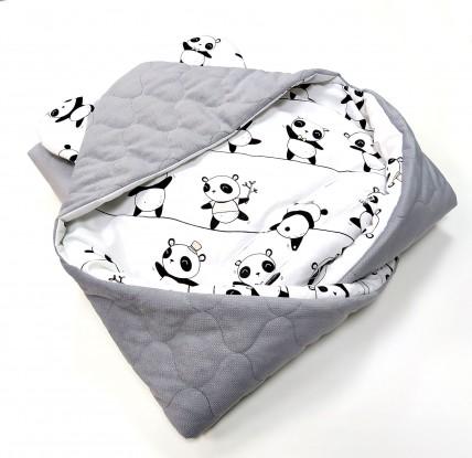 Kocyk do nosidełka i fotelika Pandy i Szary Velvet (wersja ocieplana)