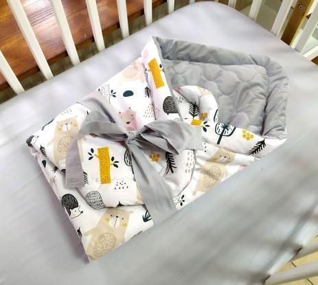 Rożek niemowlęcy Zwierzęta w Lesie i Szary Velvet