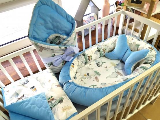 5-elementowa pościel do łóżeczka Velvet Maluchy i Niebieski [PREMIUM]