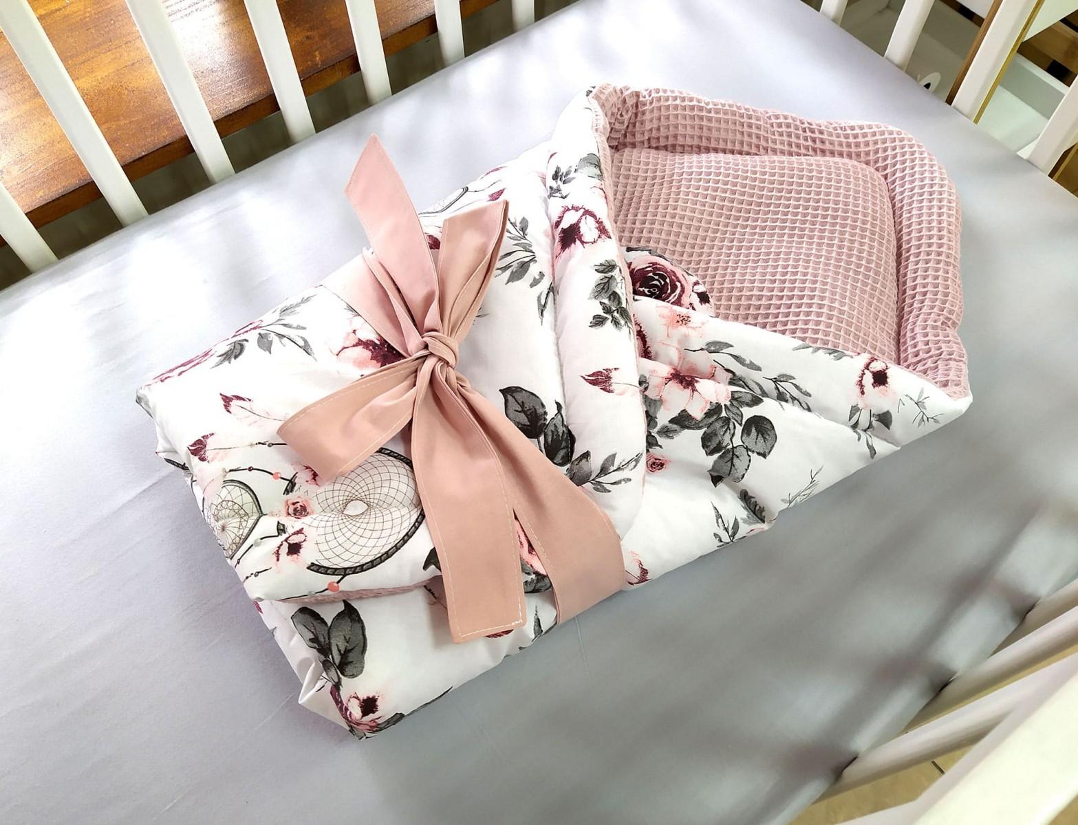 6-elementowa pościel do łóżeczka Waffle Różowe Łapacze Snów