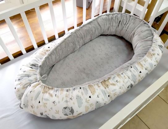 Kokon niemowlęcy Sowy i Króliczki (minky w gwiazdki)