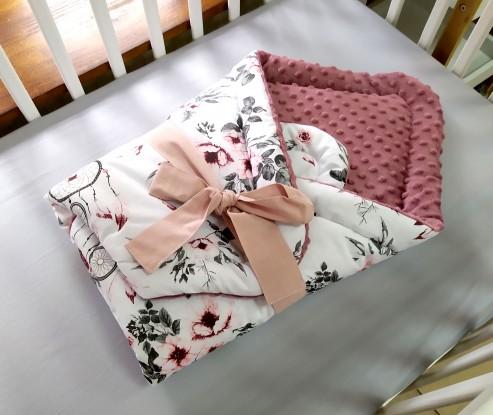 Rożek niemowlęcy Różowe Łapacze Snów i Brudny róż (wrzos)