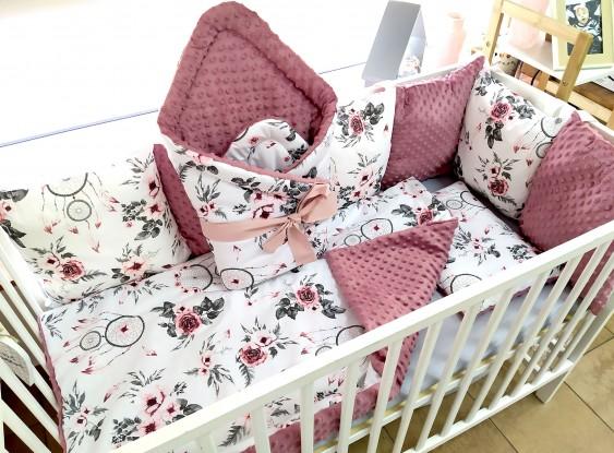 4-el pościel do łóżeczka Różowe Łapacz Snów i Brudny Róż (wrzos)