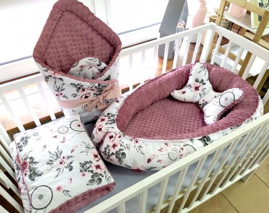 5-elementowa pościel do łóżeczka Różowe Łapacze Snów i Brudny róż (wrzos)