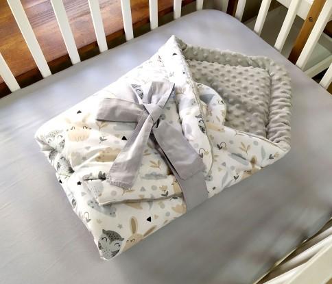 Rożek niemowlęcy Sowy i Króliczki i Szare minky
