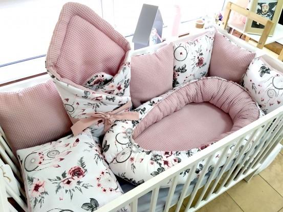 5-elementowa pościel do łóżeczka Waffle Różowe Łapacze Snów (osobne wkłady w poduszkach)