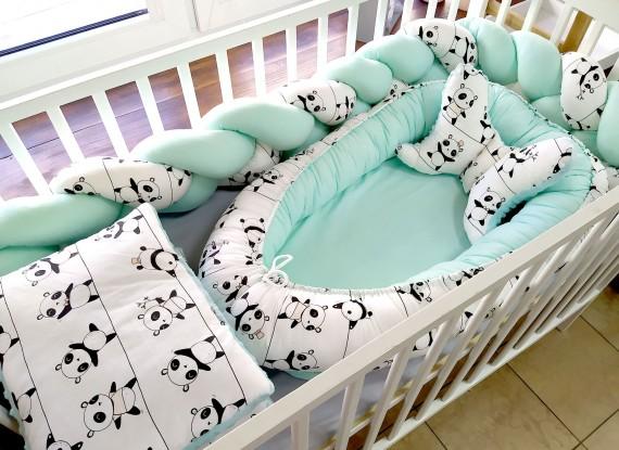 5-elementowa pościel do łóżeczka Pandy i Mięta