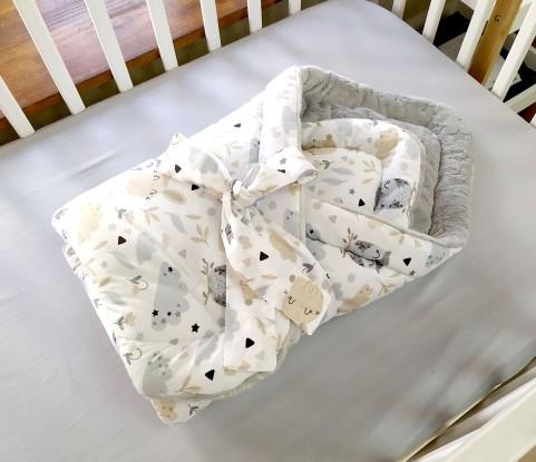 Rożek niemowlęcy Sowy i Króliczki i Szare minky (minky w gwiazdki)