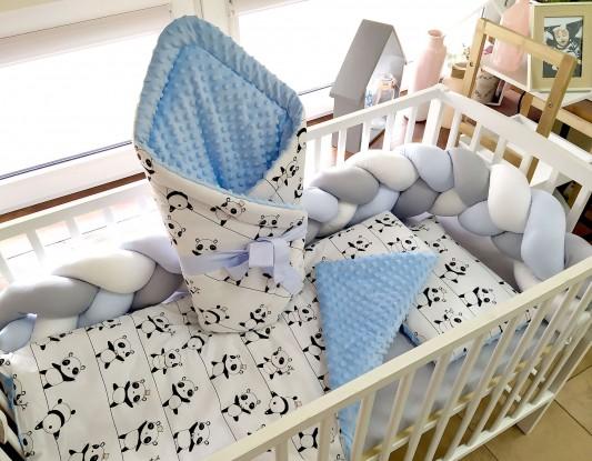 4-elementowa pościel do łóżeczka Pandy  i Jasnoniebieski