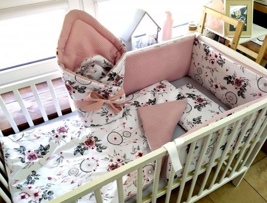4-elementowa pościel do łóżeczka Waffle Różowe Łapacze Snów i Brudny Róż