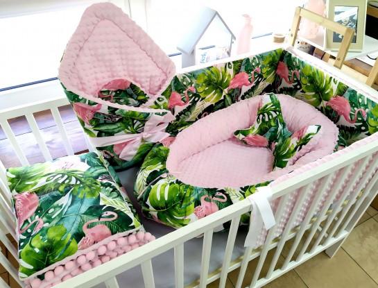 6-elementowa pościel do łóżeczka Flamingi i Róż