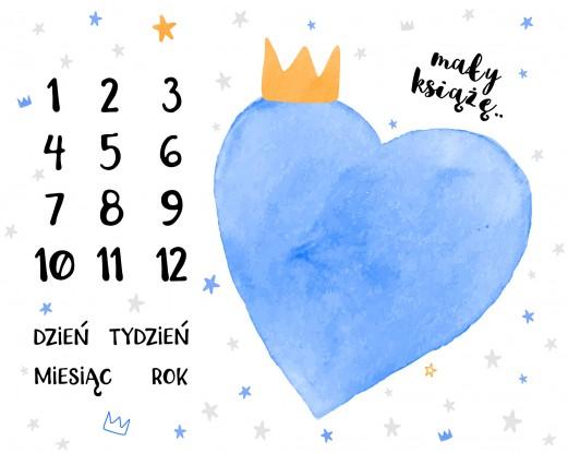 Foto Mata (kocyk do zdjęć) Niebieskie Serce i Szarość + Karty do zdjęć GRATIS!