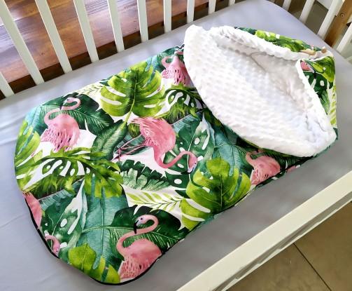 Śpiworek do wózka Flamingi i Biel