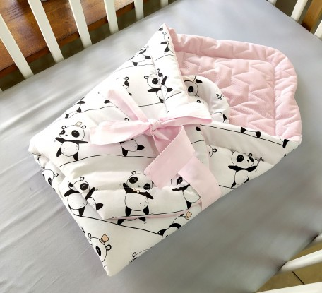 Rożek niemowlęcy Pandy i Róż Velvet