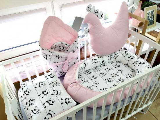 5-elementowa pościel do łóżeczka Velvet Pandy
