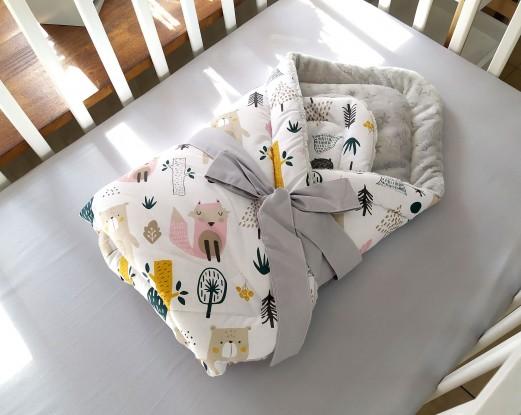 Rożek niemowlęcy Zwierzęta w lesie (minky w gwiazdki)