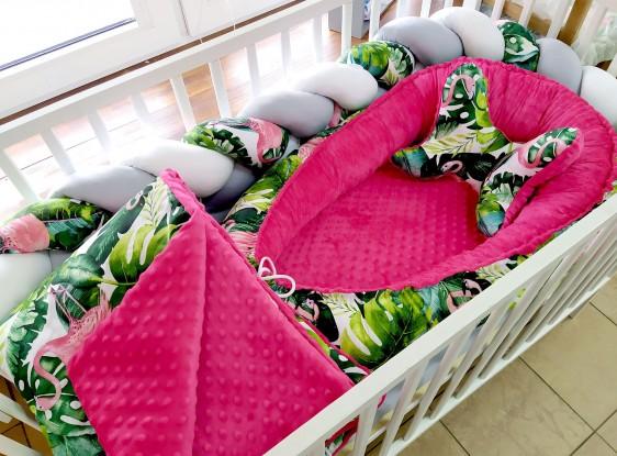 5-elementowa pościel do łóżeczka Flamingi i Fuksja