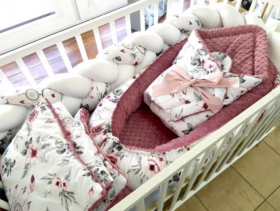 6-elementowa pościel do łóżeczka Różowe Łapacze Snów i Brudny róż (wrzos)