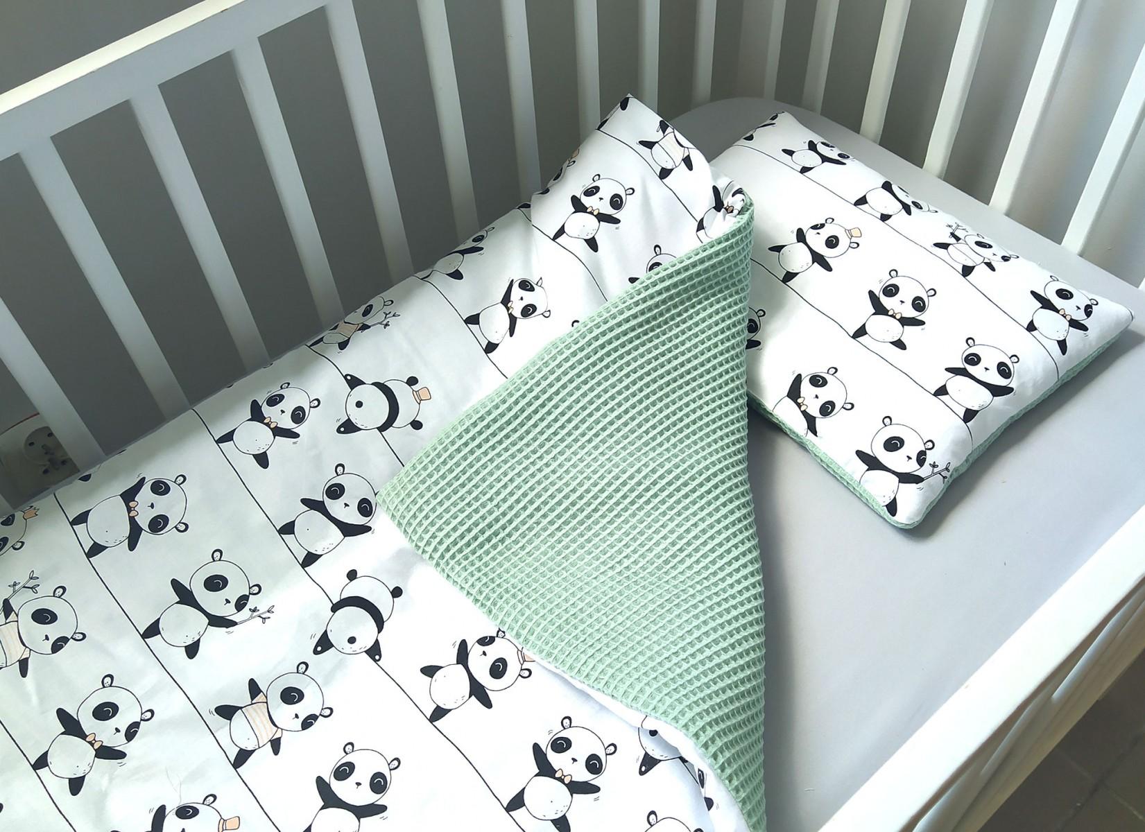 5-elementowa pościel do łóżeczka Waffle Pandy i Mięta