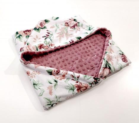 Kocyk do nosidełka i fotelika Róże (wersja ocieplana)
