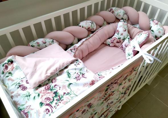 5-elementowa pościel do łóżeczka Róże i Brudny róż
