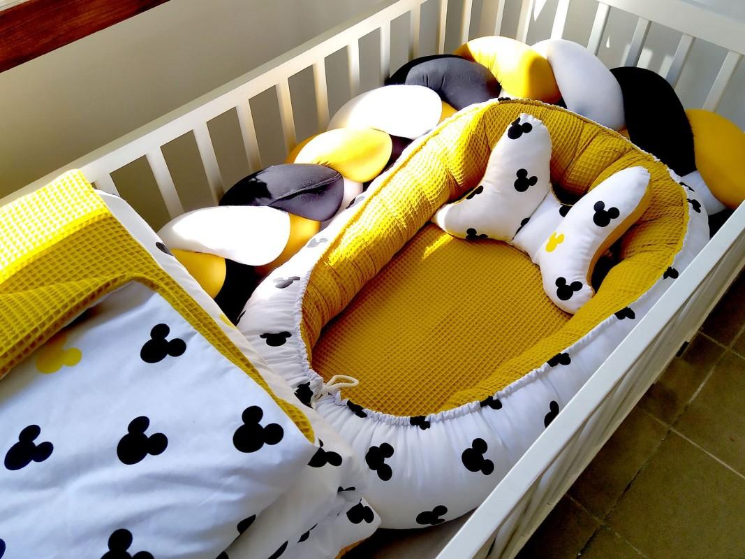 5-elementowa pościel do łóżeczka Waffle Myszka Miki
