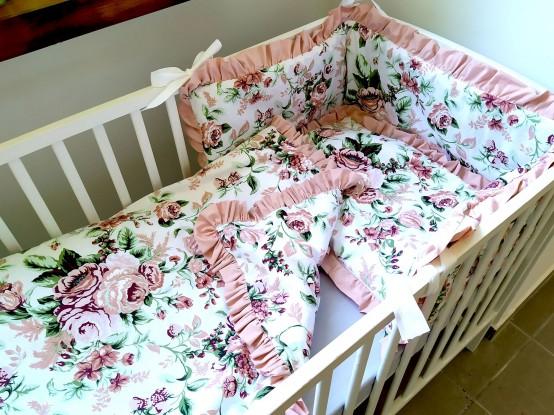 3-el pościel do łóżeczka Róże z falbankami