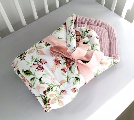 Rożek niemowlęcy Róże i Brudny Róż Minky