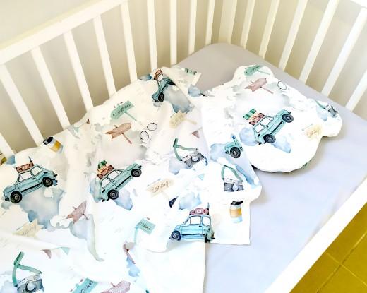 """Komplet bambusowy Maxi Maluchy z poduszką z uszkami (Karty do zdjęć """"Mój pierwszy rok"""" gratis!)"""