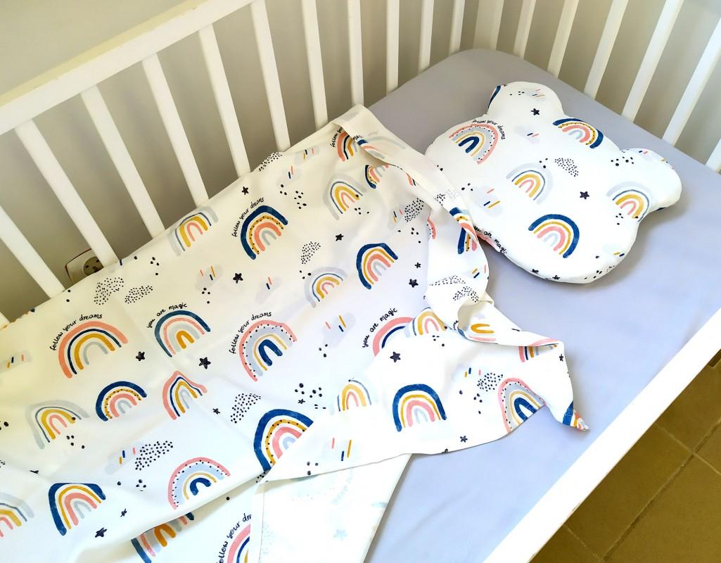 """Komplet bambusowy Maxi Tęcza z poduszką z uszkami (Karty do zdjęć """"Mój pierwszy rok"""" gratis!)"""