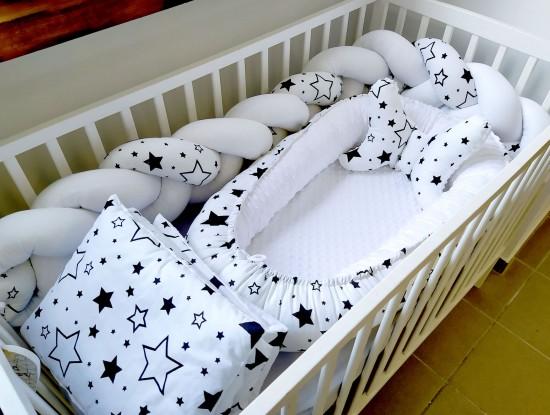 5-elementowa pościel do łóżeczka Czarna Galaktyka i Biel
