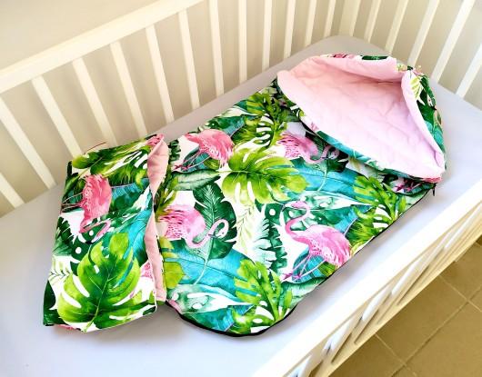 Śpiworek do wózka Velvet Flamingi i Róż