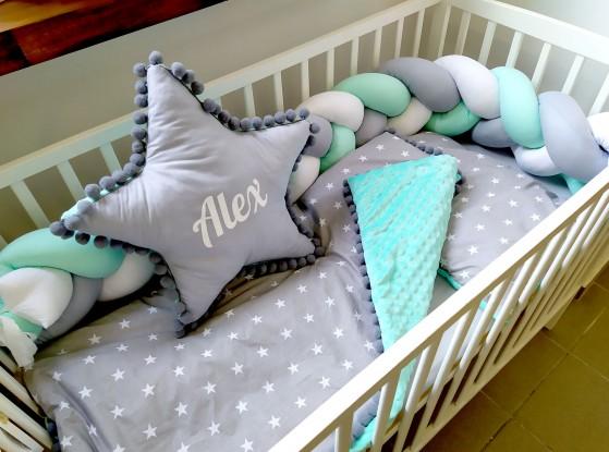 4-elementowa pościel do łóżeczka Mint Stars