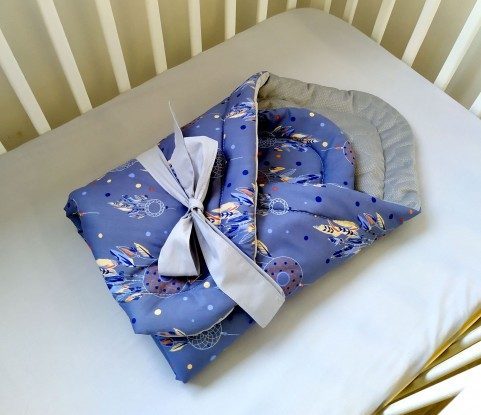 Rożek niemowlęcy Granatowe Łapacze i Szary Velvet